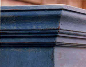 cupboard moulding painted blue