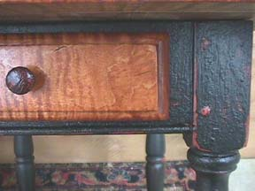 tavern table drawer front and leg with painted finish