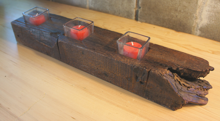CA-002 Antique Reclaimed Chestnut Beam 3 Tea Light ~ $75