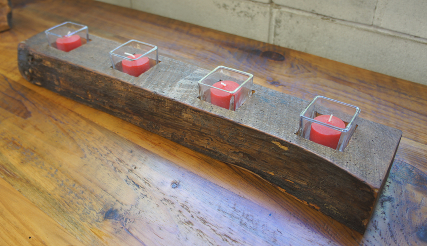 CA-004 Antique Reclaimed Pine Beam 4 Tea Light