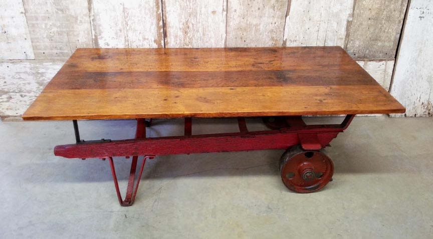 CT-46 Antique Chestnut Handtruck Base with Antique Pine Top Coffee Table