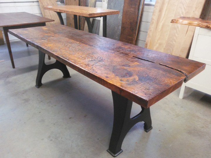 DT-90 Reclaimed Rustic Pine Top Table with Vintage Machine Base ~ $1995