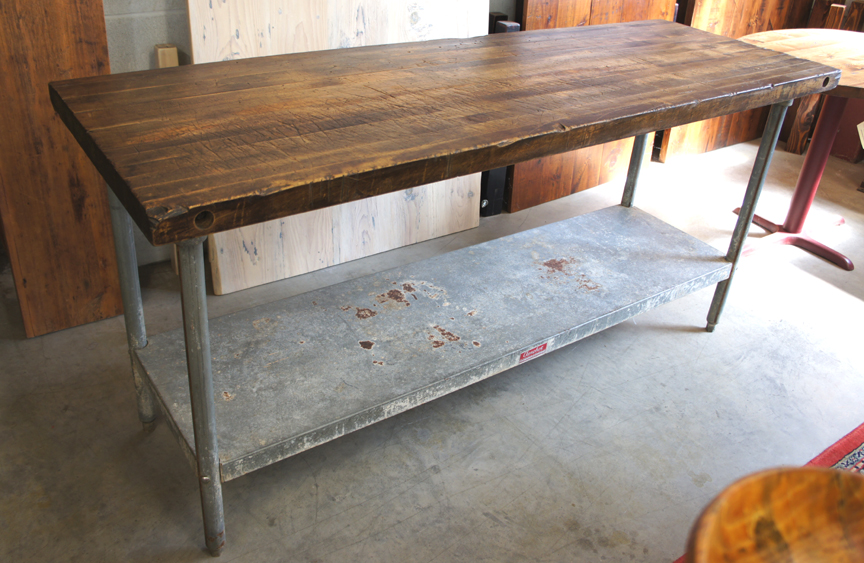 IS-46 BUTCHER BLOCK TOP AND GALVANIZED METAL ISLAND