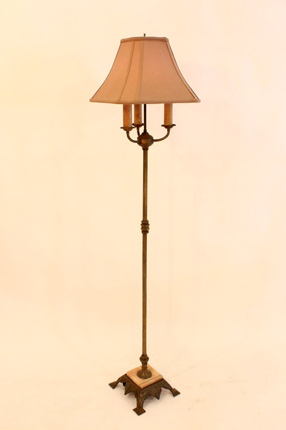 LT-24 Antique Brass & Marble Floor Lamp ~ $95